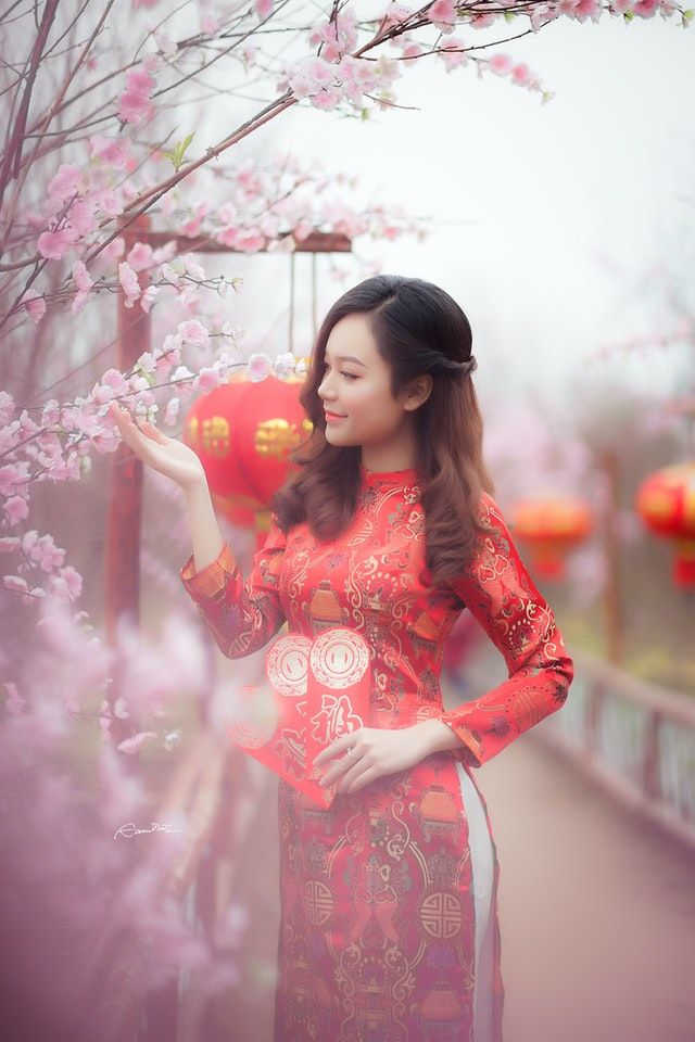 Sublime robe chinoise rouge